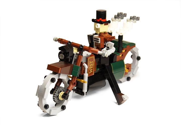LEGO MOC - Steampunk Machine - Thomas Watts' Steam Motorcycle (Miniland): <br>Generator produces enough electricity to power a lamp and electrodynamic suspension.<br><br><br />