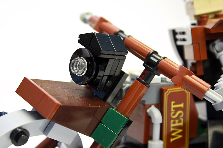 LEGO MOC - Steampunk Machine - Thomas Watts' Steam Motorcycle (Miniland): <br>Frontal arc lamp was taken from the steam locomotive.<br>