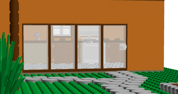 LEGO MOC - New Year's Brick 2014 - Modern mediterranean house.: A view of the front windows.