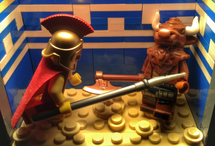 LEGO MOC - Jurassic World - A new exhibit in the city museum: The fight between Theseus and the Minotaur in the Knossos maze. Illustration of an ancient Greek myth.