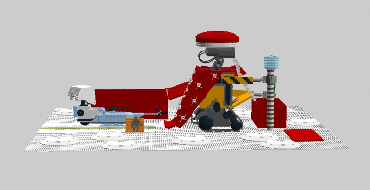 LEGO MOC - New Year's Brick 2016 - Валли — Дед Мороз: Вид сбоку. Док стоит за Валли. Он смотрит на вертолёт.